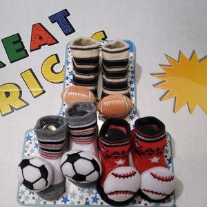 Zak& Zoey 3 pack sports baby booties